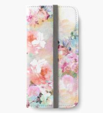 Romantic Pink Teal Watercolor Chic Floral Pattern iPhone Wallet/Case/Skin