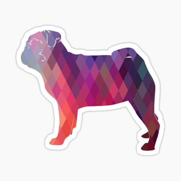 Pug Toy Breed Dog Colorful Geometric Pattern Silhouette - Pink Sticker