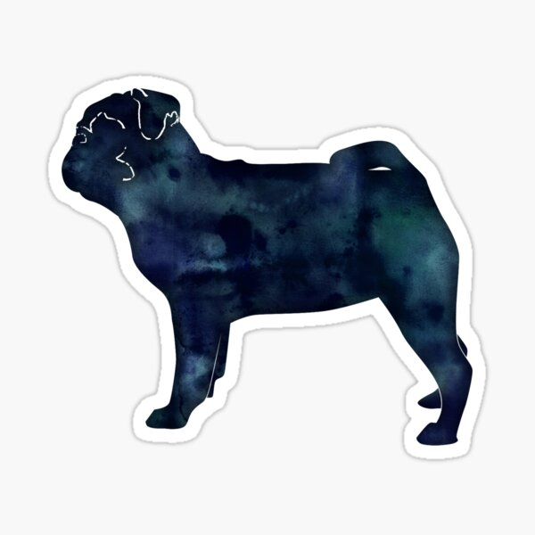Pug Toy Breed Dog Black Watercolor Silhouette Sticker