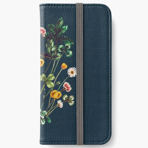 MeadowSweet Autumn on Rustic Blue iPhone Wallet