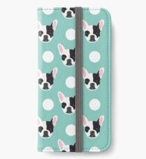 French Bulldog pattern polka dogs dog head funny dog meme cute gift for a dog lover frenchie owner iPhone Wallet/Case/Skin