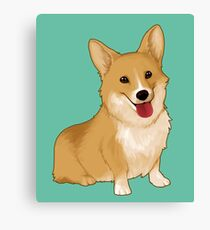 Cute smiling corgi Canvas Print