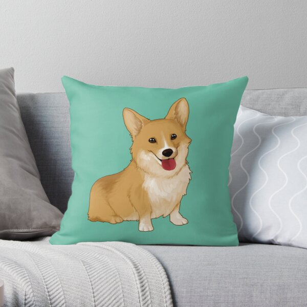 Cute smiling corgi Throw Pillow