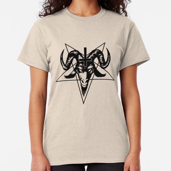 Satanic Goat Head with Pentagram (black) Classic T-Shirt