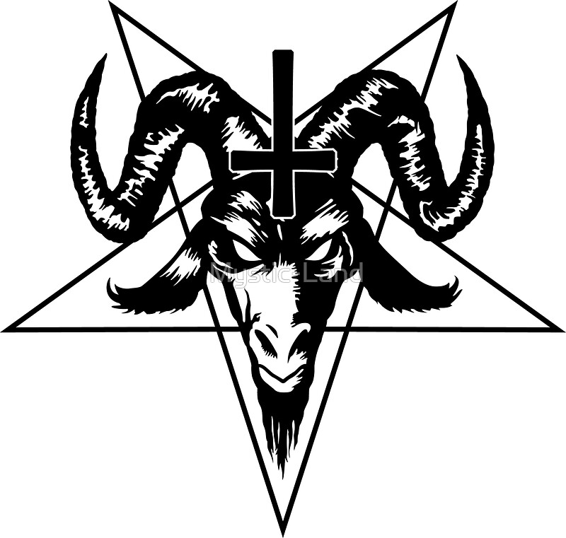 """Satanic Goat Head with Pentagram (black)"" Stickers by ..."
