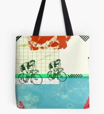 Cycling Mixed Media Collage Illustration Tote Bag