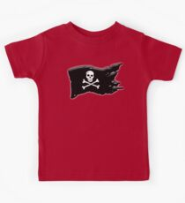 Pirate, FLAG, Skull & Crossbones, Jolly Roger, Buccaneers, Me Harties! BLACK on RED Kids Clothes