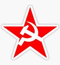 STAR, Red Star, Russia, Russian, Hammer and sickle, in five leg star. Communism, BLACK Sticker