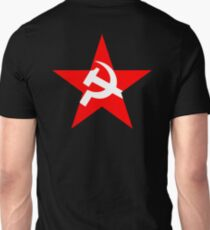 STAR, Red Star, Hammer and sickle, in five leg star. Communism, BLACK Unisex T-Shirt