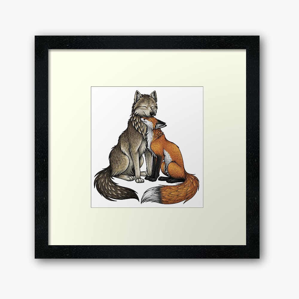 Wolf & Fox Framed Art Print