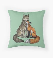 Wolf & Fox Throw Pillow