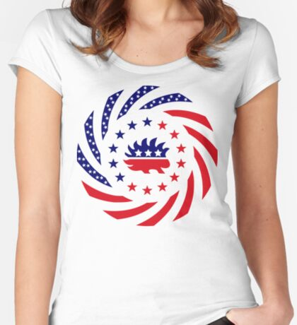 Libertarian Murican Patriot Flag Series Fitted Scoop T-Shirt