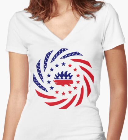 Libertarian Murican Patriot Flag Series Fitted V-Neck T-Shirt