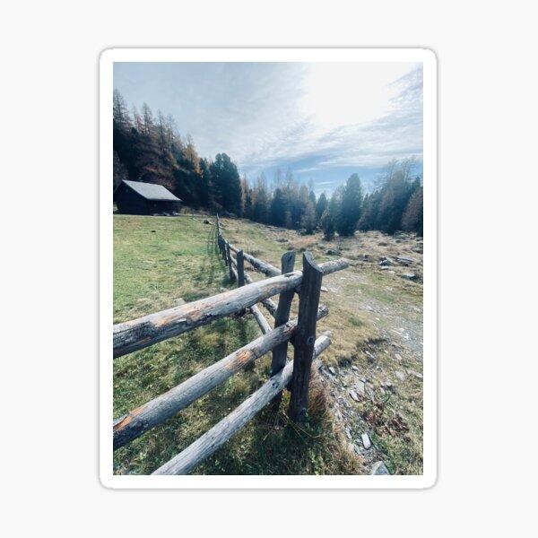 Mountain mood, wooden fence Sticker