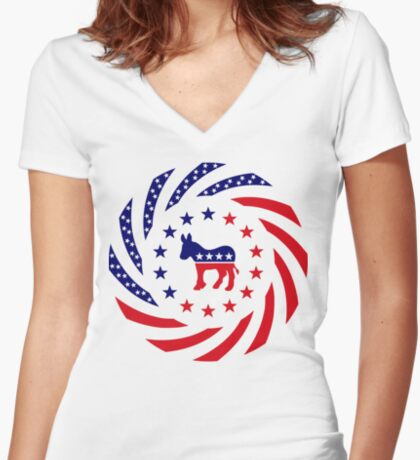 Democratic Murican Patriot Flag Series Fitted V-Neck T-Shirt