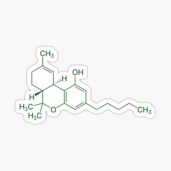 THC Molecule (Green) Sticker