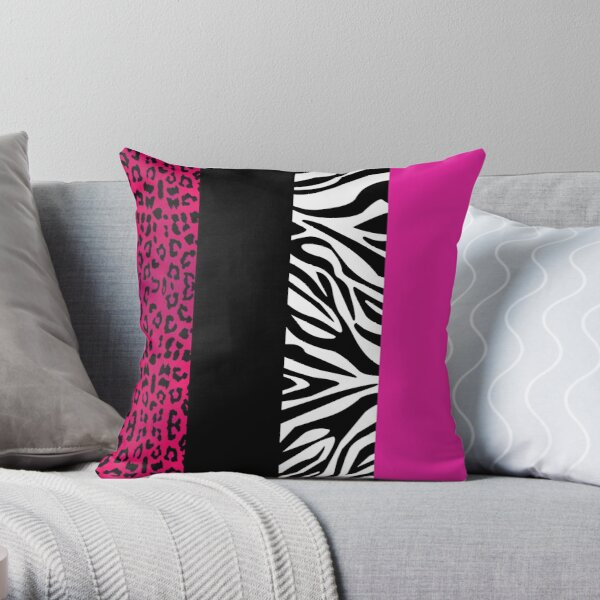 Hot Pink Zebra and Leopard Animal Print Stripes Throw Pillow