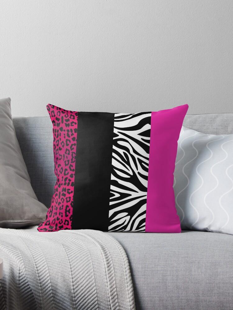 Hot Pink Zebra and Leopard Animal Print Stripes by JannaSalak