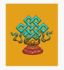 Tibetan Endless Knot, Lotus Flower, Buddhism Photographic Print