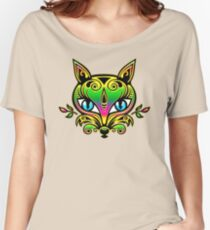 Rainbow fox with blue eyes and ornaments Women's Relaxed Fit T-Shirt