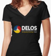 Delos – Adult Amusement Parks (aged look) Women's Fitted V-Neck T-Shirt