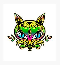 Rainbow fox with blue eyes and ornaments Photographic Print