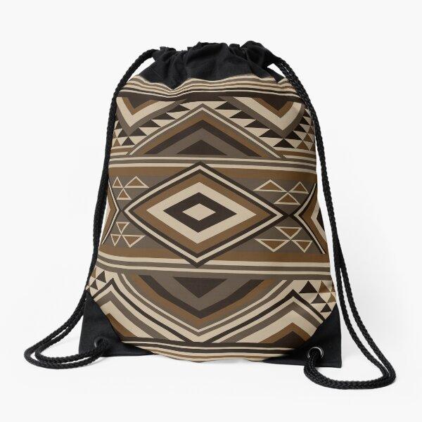 Navajo Brown Pattern  Drawstring Bag