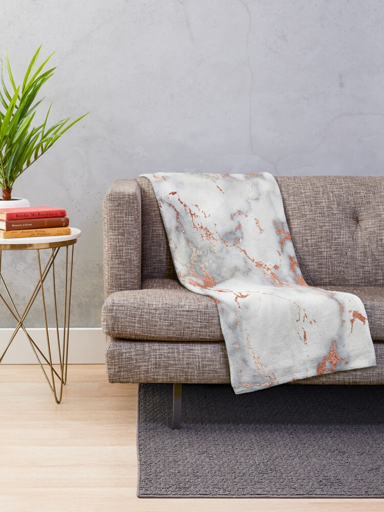 Alternate view of Rose Gold Gray and  White Marble Swirl Throw Blanket