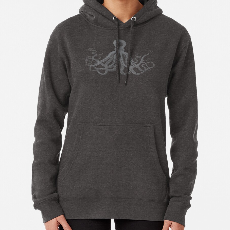 Octopus | Vintage Octopus | Tentacles | Sea Creatures | Nautical | Ocean | Sea | Beach | Grey and White |  Pullover Hoodie