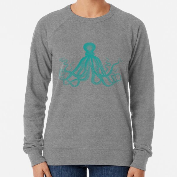 Octopus | Vintage Octopus | Tentacles | Sea Creatures | Nautical | Ocean | Sea | Beach | Teal and White |  Lightweight Sweatshirt