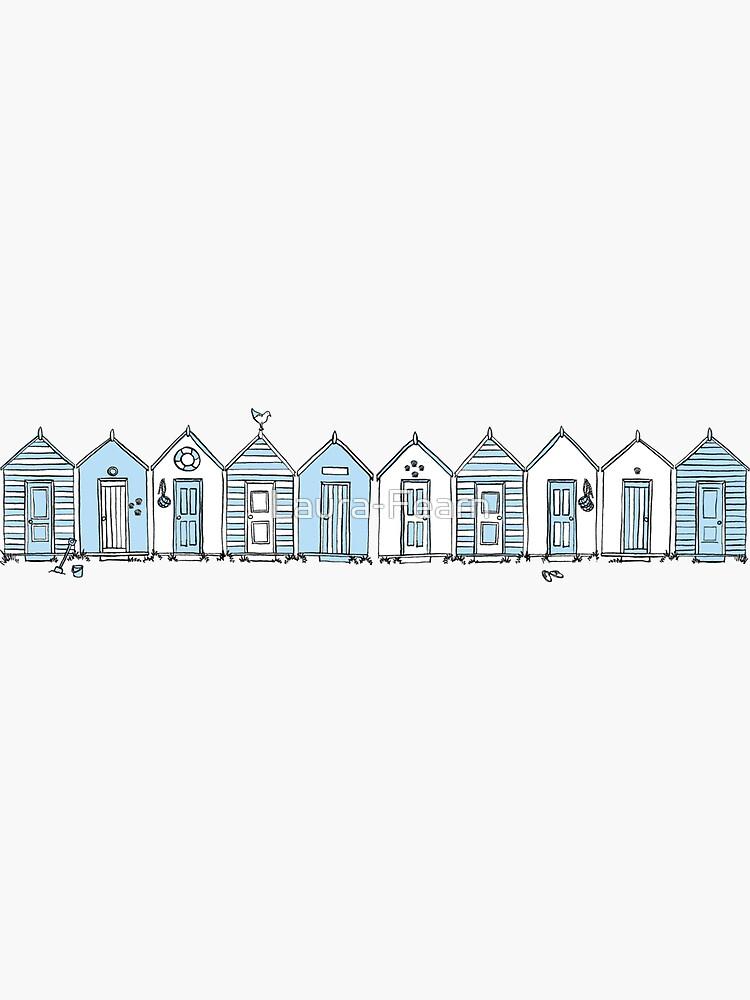 Little Blue Beach Huts by Laura-Fearn