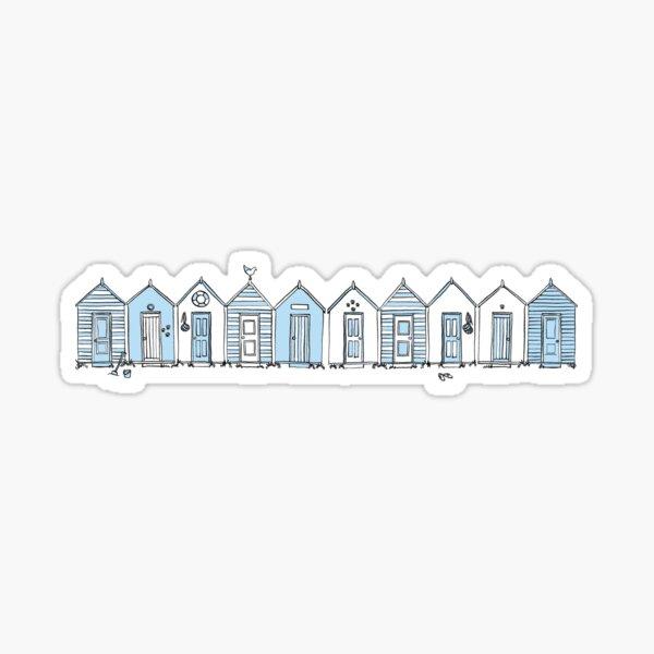 Little Blue Beach Huts Sticker