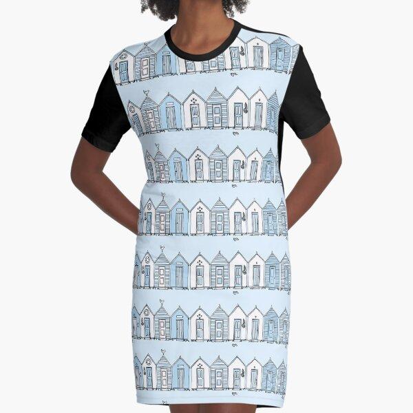 Little Blue Beach Huts Graphic T-Shirt Dress