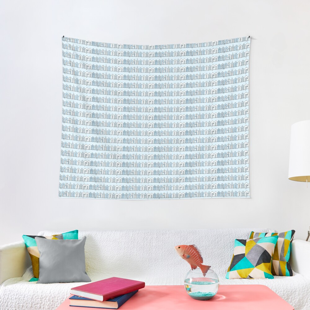 Little Blue Beach Huts Tapestry