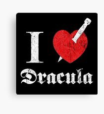 I love (to kill) Dracula (white font eroded) Canvas Print