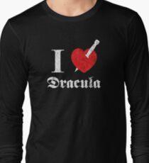 I love (to kill) Dracula (white font eroded) Long Sleeve T-Shirt