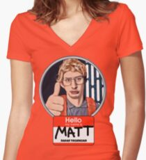 Hello my name is Matt Women's Fitted V-Neck T-Shirt