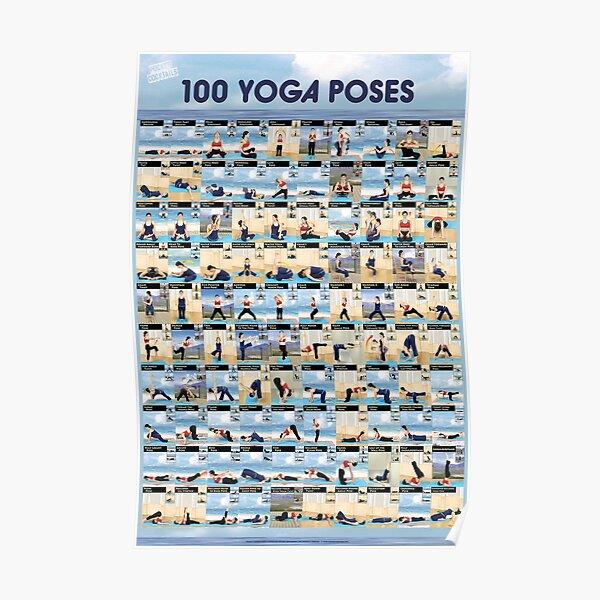 Yoga Poster - 100 Ashtanga / Hatha Yoga Poses Poster