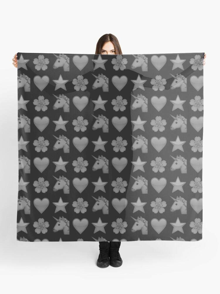 Black Emojis: Unicorn, Heart, Star, Flower | Scarf