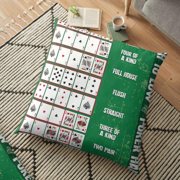 Poker Poster - Poker Hands High to Low Floor Pillow