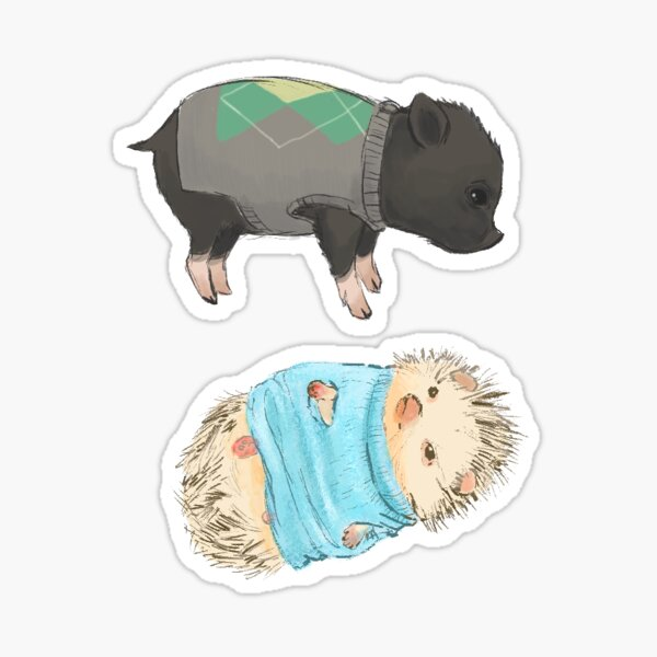 Pig and Hedgehog in Sweaters - Sticker Set Sticker