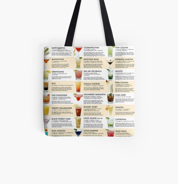 Classic Cocktail Poster by Pocket Cocktails All Over Print Tote Bag