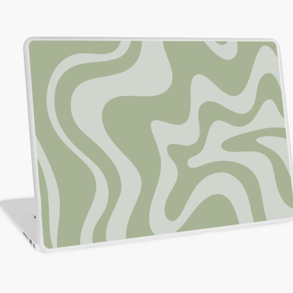 Liquid Swirl Contemporary Abstract Pattern in Sage Green and Light Silver Sage Grey Laptop Skin