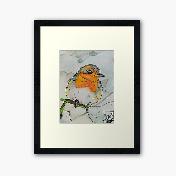 Robin in winter Framed Art Print