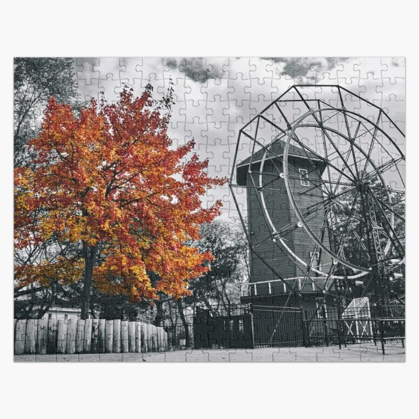 Red Tree and Windmill Jigsaw Puzzle Jigsaw Puzzle