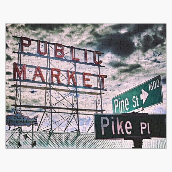 Pike Place Market Sign Jigsaw Puzzle Jigsaw Puzzle