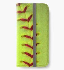 Neon Yellow Softball Stitches iPhone Wallet/Case/Skin