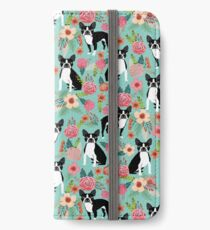 Floral Boston Terrier cute dog spring bloom love valentines day gift terrier black and white puppy iPhone Wallet/Case/Skin