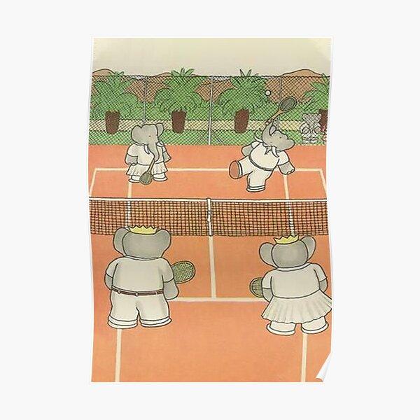 Babar l'éléphant jouant au tennis Poster