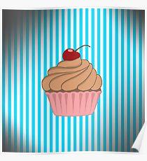 Pink Cupcake on Aged Teal Poster